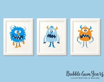 Monster print set, boys monster print set, monster art, monster nursery prints, boys bedroom, kids room, blue room, monster decor