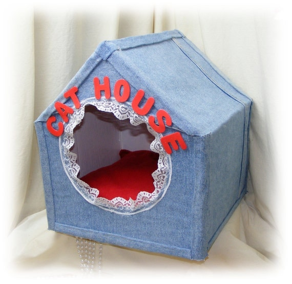 Adorable HandCrafted Cat Bed Cave,PET BED, Denim Cat House . . .