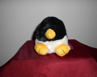 """Puffkin By Swibco """"Tux"""" The Darling Black and White Soft Velvety Penguin in Tuxedo! New With Tags, Yellow Beak and Yellow Paws!"""