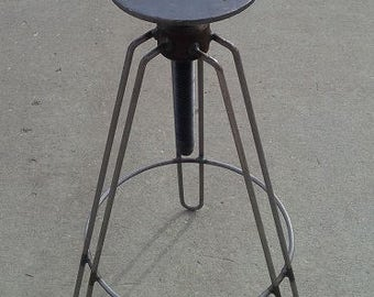 Industrial Hair Pin Leg Stool Adjustable Height Steel