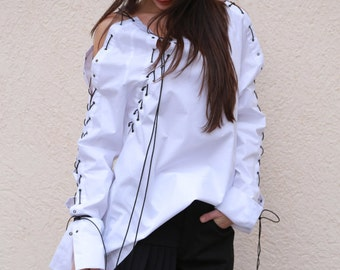 Oversized White Shirt /Casual White Top/Long Sleeved Cotton Shirt/ Loose Shirt/ Ties Shirt/Extravagant shirt/White Blouse/F1551