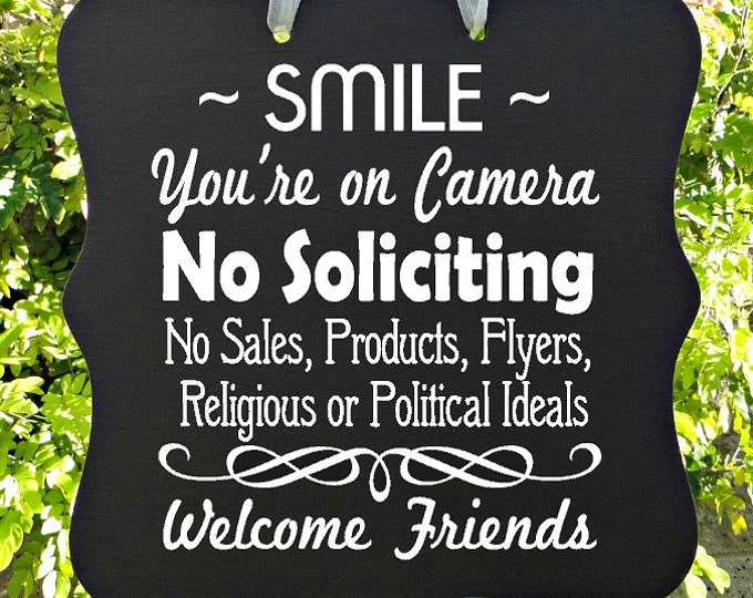 Featured listing image: No Soliciting Sign, Smile, Camera, Video, Surveillance, Front Door Sign, Door Hanger, Welcome Sign, Do Not Disturb, Home Decor, Wood Sign