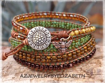 Sunflower Wrap Bracelet Handcrafted With Seed Bead And Leather/ Beaded Wrap Bracelet/ Gift For Her/  Boho Wrap Bracelet/ Leather Bracelet.