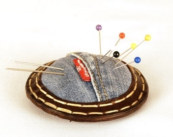 Pincushion. Leather and upcycled jeans. Handstitched. Sewing professional. For tailors, dressmakers, seamstresses.  Gift. One of a kind.