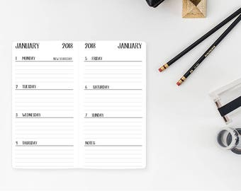 2018 Weekly Personal Traveler's Notebook Insert – Personal size - Week on two page - Wo2P - horizontal with lines