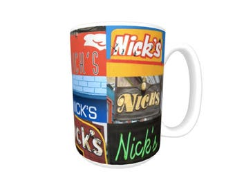 Personalized Coffee Mug featuring the name NICK in photos of signs; Ceramic mug; Unique gift; Coffee cup; Birthday gift; Coffee lover