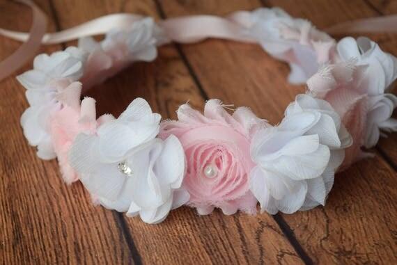 White light pink Baby Headband, halo headband, Newborn Headband, Infant Headband, flower crown , Headband Baby, tie Headband