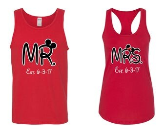 Mr. and Mrs. with date included Matching Tank Tops~  couples matching tanks~ Mr and Mrs Honeymoon Tank Tops~