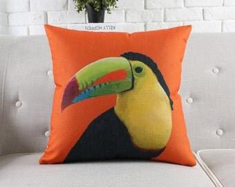 "Decorative pillow, Euro cushion cover/Toucan throw pillow cushion shell customized size 22x22""/24x24"""