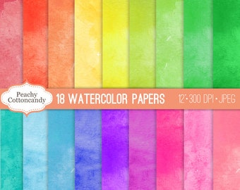 BUY 2 GET 1 FREE Colorful Digital Watercolor Papers - bright watercolour digital paper - for digital scrapbooking & cards -Commercial Use Ok