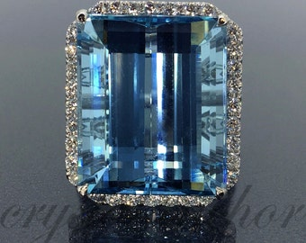 GIA Certified 18k gold Natural Dark Blue Aquamarine & Diamond HALO ring 24.88ctw VIDEO