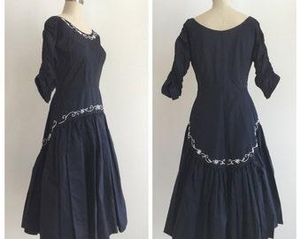 Vintage 1950's Navy Blue Taffeta Dress with white beading detail