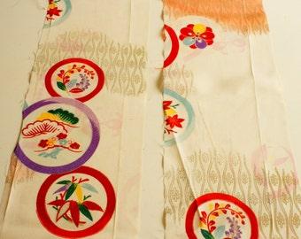 Vintage Japanese girl's kimono fabric **Family Crest**Lot
