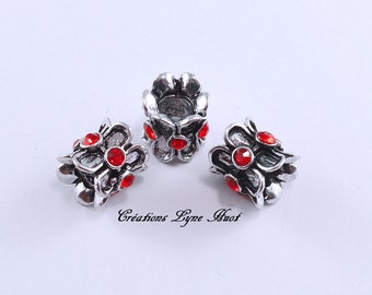 Choose 1 or 3 European style charm beads , with red rhinestones!
