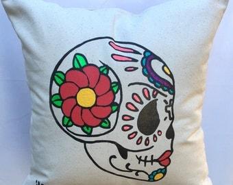 Sugar Skull Pillow Case. Valentine's Heart Pillow Cover. Skull Hand Painted Pillow Cover. Gift Friendly