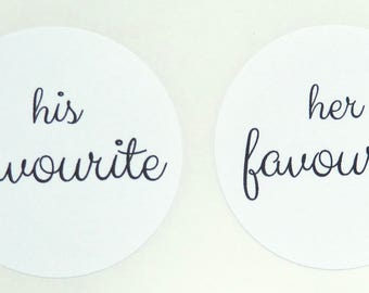His favourite her favourite sticker white black paper wedding thank you 4cm seals party treat bag favour bag stickers