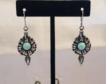Silver earrings with light blue earrings, Flower earrings
