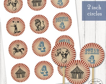 Circus Cupcake Toppers, Printable 2 inch circle tags/toppers