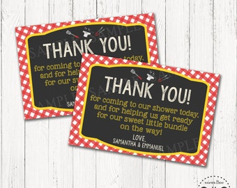 Printable BBQ Baby Shower Thank You Card / Baby-Q Thank You Card
