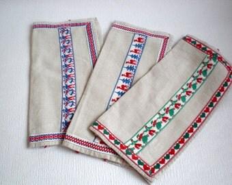 Vintage Napkin Holders, Ecru Linen, Dutch, Folklore Ribbon, Vintage 1950's