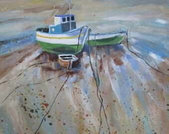 Fishing Boat Art, Boat Painting, Nautical Art, Boat Art, Original Acrylic on Canvas, Coastal Scene, Fishing Boat, Fisherman, Wall Hanging