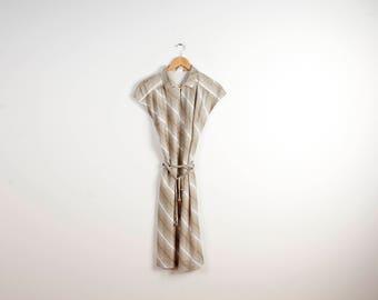 Beige Dress Women Vintage Summer Dress Stripped Short Sleeve Belt Dress 70s 80s Style Dress Retro Summer Dress Classic Business Size Large