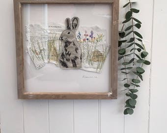 Embroidered collage Watership Down