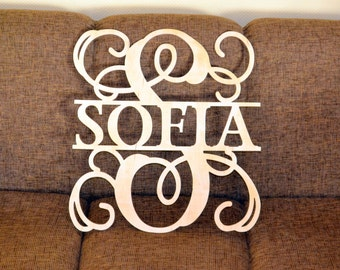 Wooden Monogram wall hanging Unpainted gold silver Wedding monogram letters for wall decorations 24 inches wide