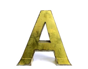 A large letter sign metal Golden vintage 3D - letter decor brass plate circa 1950's 1960's - mid century marquee sign industrial