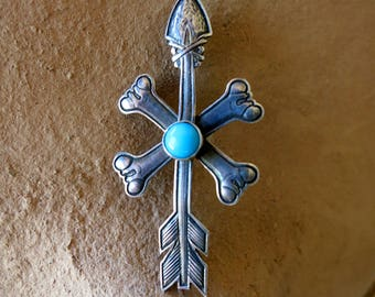 STERLING & TURQUOISE Brooch, Arrow and Crossed Bones by Kit Carson, Circa 1990