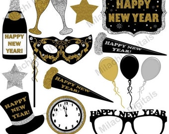 60% OFF SALE Happy New Year clipart, new year's eve clipart, vector graphics, new year clipart, clip art, commercial use - M467