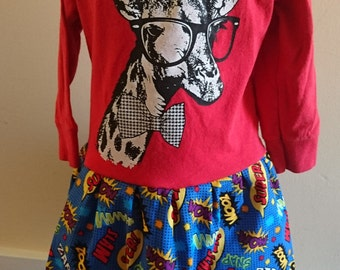 Giraffe with Glasses Superhero Comic T-shirt Party Dress - Girls size 4