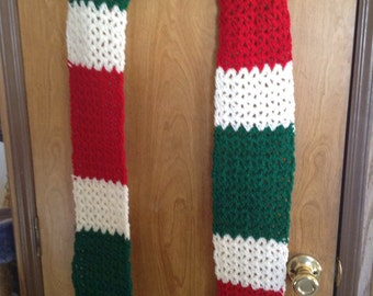 Red, white and green scarf with fringe
