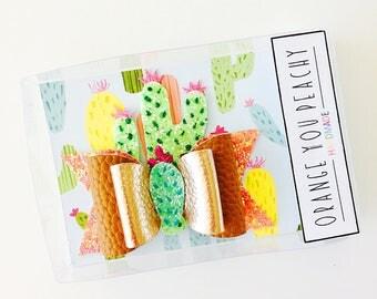 Cactus Desert Hair Bow - cactus hair clip, cactus headband, summer hair bow