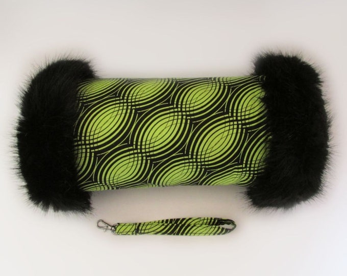 Geometric Black & Lime Faux Fur Trimmed Retro Style Hand Muff