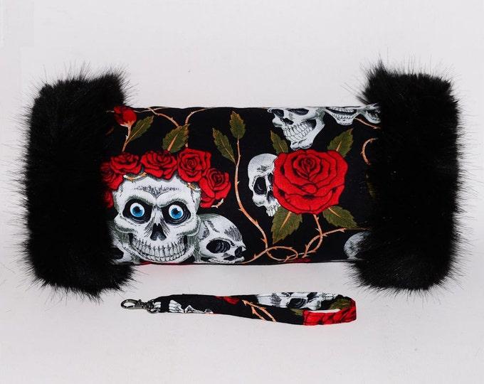 Black Skulls & Roses Hand Muff with Black Faux Fur Trim