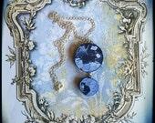 Handmade broken china OOAK blue tuxedo cats two-parts necklace