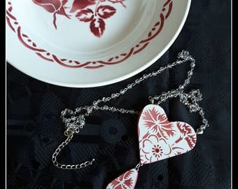 Handmade big two-parts OOAK french Luneville broken china red heart necklace