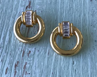 Vintage Earrings, Gold Hoops, Pierced Earrings, Gold Earrings, Baguette Earrings, Rhinestone Earrings, Vintage Jewelry, Gold Hoop Earrings
