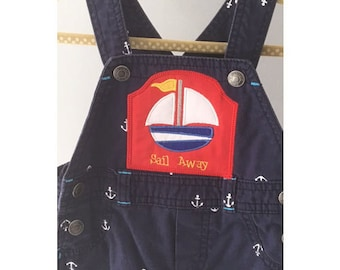 Upcycled Carter's Sail Away Overalls 6 Months