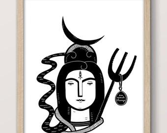 Devotional Shiva Uplifting Quote Wall Art, Om Namah Shivaya, Yoga Art, Mantra, Black and White, Printable, Instant Download, Graphic Print