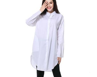 Long Sleeve White Cotton Blouse Shirt Plus Size Shirt Loose Fitting Comfortable Top Summer Dress