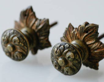 drawer knobs / matching pair french antique bronze metal furniture hardware / small pull hook / architectural salvage / vintage home decor