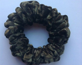 Khaki and Brown Camouflage Velvet Hair Scrunchie
