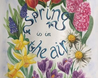 Illustration Poster Watercolor Spring is in the Air