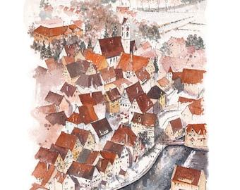 RIEDLINGEN PRINT - German landscape - Mounted Print - Rooftops - Germany - Watercolour, landscape