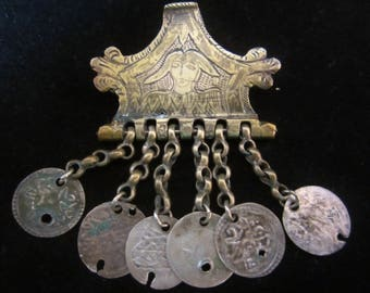 Antique Brass Hinge Brooch- intriguing handcrafted piece from India. Old coins on chains suspended beneath. Conversational, a gift for him!