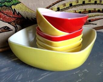 Vintage Pyrex Square Bowl Set, Pyrex Hostess Set Bowls, Pyrex Yellow Hostess Square Bowl Set,