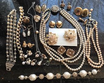 Destash Wear Repair Crafter's Lot Pearl Goldtone 30+ Pc