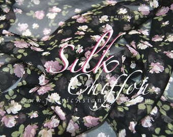 Black Silk Georgette Buds Fabric Express delivery